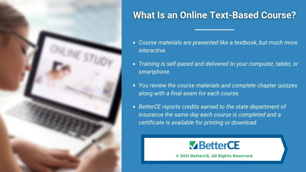 Callout 1- female student with Online Study on computer screen- What Is an Online Text-Bases Course?-4 bullet points