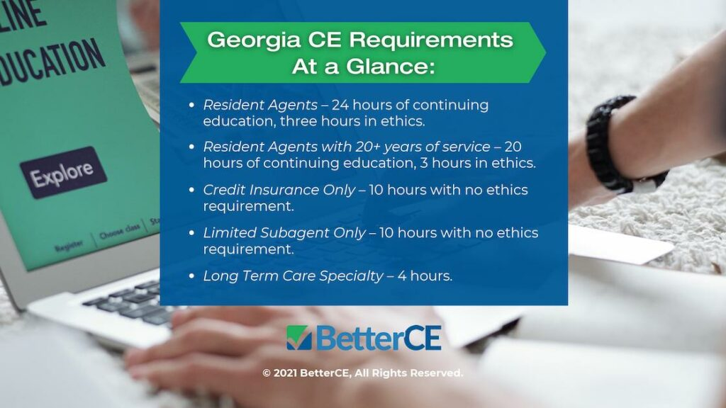 Callout 2- student working on laptop- Title: Georgia CE Requirements at a Glance -5 bullet points