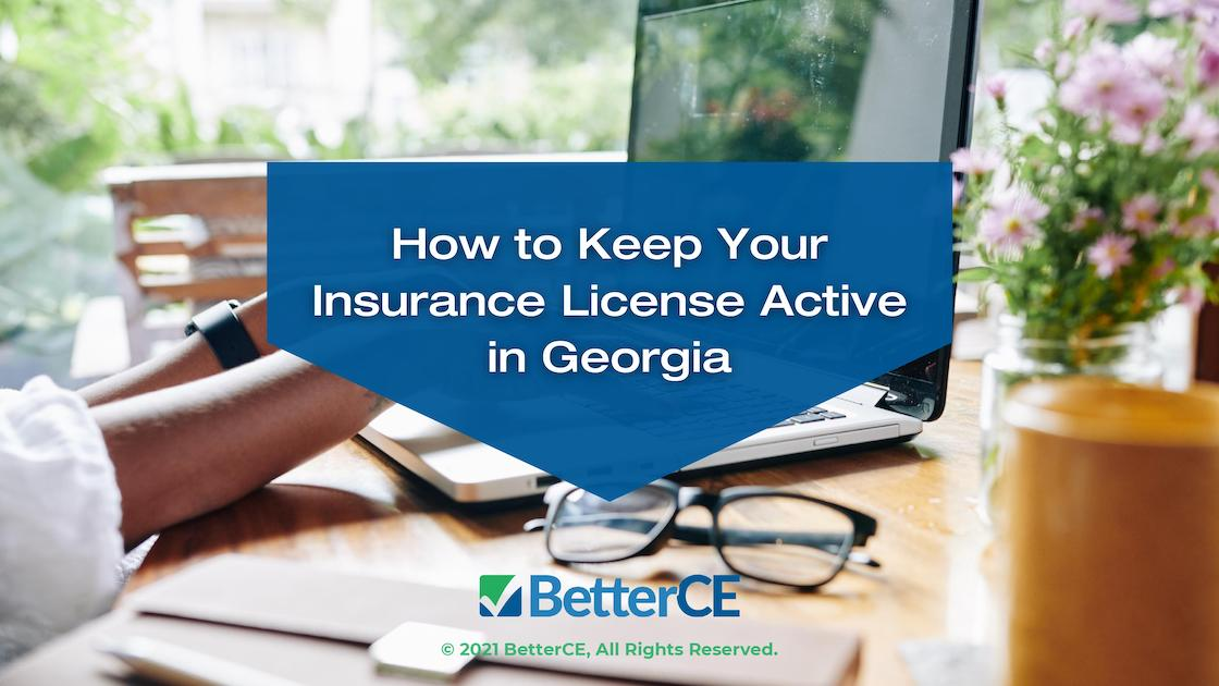 Featured -Businesswoman working on laptop at home - Title: How To Keep Your Insurance License Active in Georgia