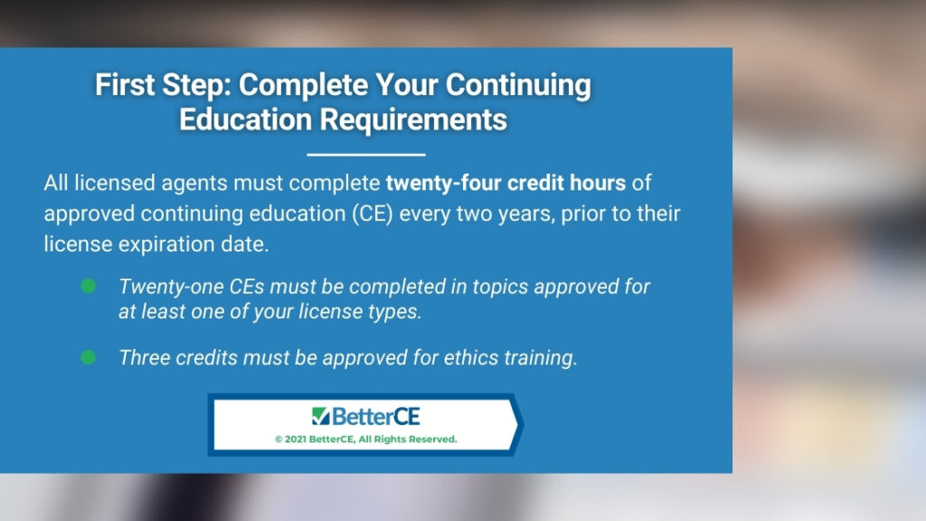 Callout 1- First Step: Complete Your Continuing Education Requirements with two bullet points on blurred background