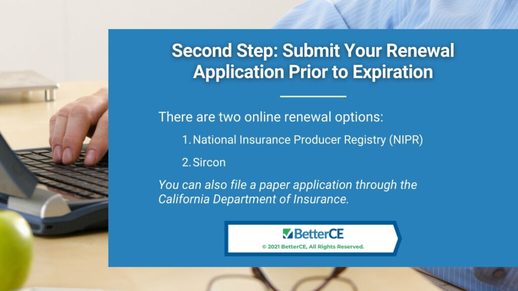 Callout 3- Male hands on keyboard- Second Step: Submit Your Renewal Application Prior to Expiration - with two options