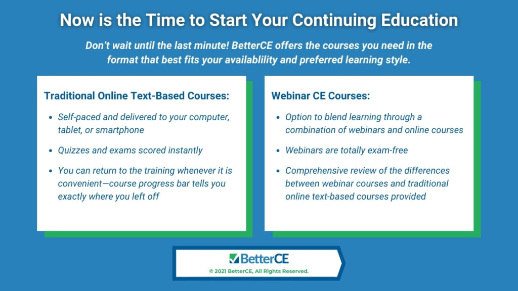 Callout 4- Now Is the Time to Start Your Continuing Education -with two text box options of courses on blue background