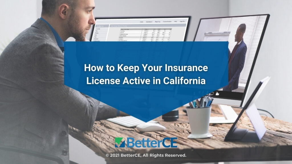 Featured-Male at desk with laptop open-How to Keep Your Insurance License Active in California